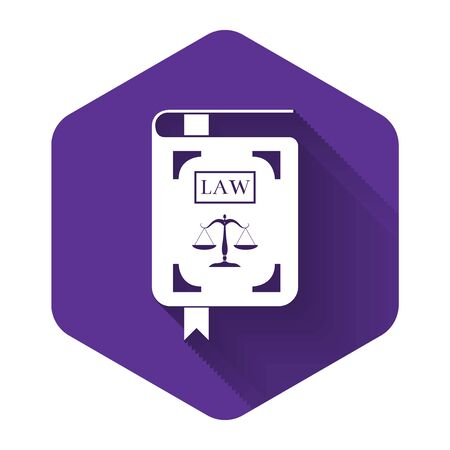 White Law book statute book with scales of justice icon isolated with long shadow. Purple hexagon button. Vector Illustration Ilustrace