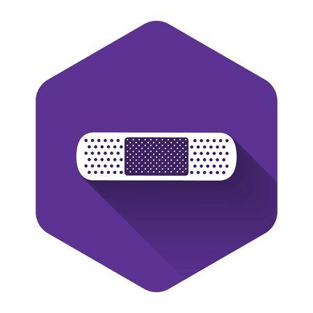 White Bandage plaster icon isolated with long shadow. Medical plaster, adhesive bandage, flexible fabric bandage. Purple hexagon button. Vector Illustration