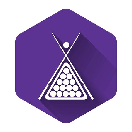 White Billiard cue and balls in a rack triangle icon isolated with long shadow. Purple hexagon button. Vector Illustration