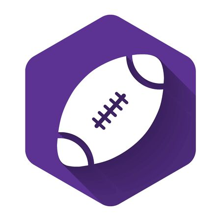 White American Football ball icon isolated with long shadow. Purple hexagon button. Vector Illustration Illustration