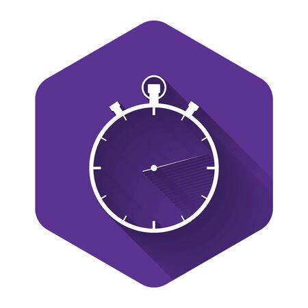 White Stopwatch icon isolated with long shadow. Time timer sign. Purple hexagon button. Vector Illustration