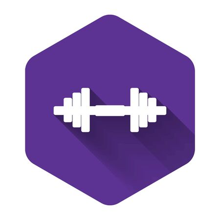 White Dumbbell icon isolated with long shadow. Muscle lifting icon, fitness barbell, gym icon, sports equipment symbol, exercise bumbbell. Purple hexagon button. Vector Illustration