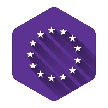 White Flag of European Union icon isolated with long shadow. EU circle symbol. Waving EU flag. Purple hexagon button. Vector Illustration  イラスト・ベクター素材