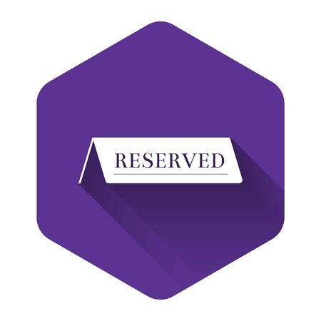 White Reserved icon isolated with long shadow. Purple hexagon button. Vector Illustration Ilustração