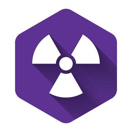 White Radioactive icon isolated with long shadow. Radioactive toxic symbol. Radiation Hazard sign. Purple hexagon button. Vector Illustration Illusztráció