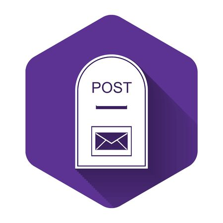 White Mail box icon. Post box icon isolated with long shadow. Purple hexagon button. Vector Illustration Stok Fotoğraf - 132123842