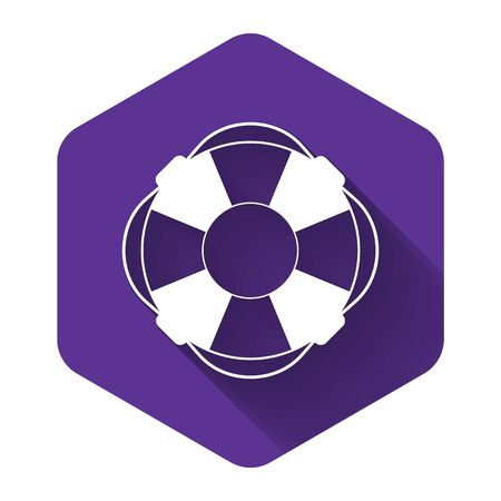 White Lifebuoy icon isolated with long shadow. Lifebelt symbol. Purple hexagon button. Vector Illustration
