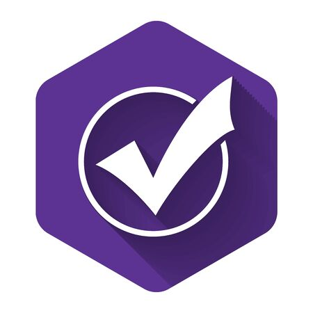 White Check mark in round icon isolated with long shadow. Check list button sign. Purple hexagon button. Vector Illustration
