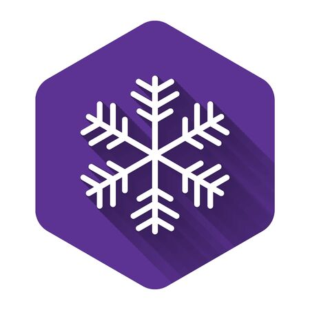 White Snowflake icon isolated with long shadow. Purple hexagon button. Vector Illustration  イラスト・ベクター素材
