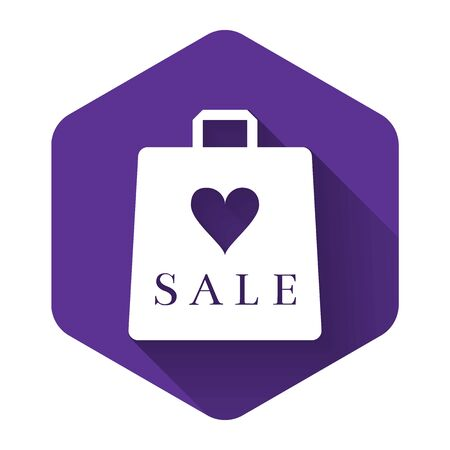 White Shoping bag with an inscription Sale icon isolated with long shadow. Handbag sign. Woman bag icon. Female handbag sign. Purple hexagon button. Vector Illustration