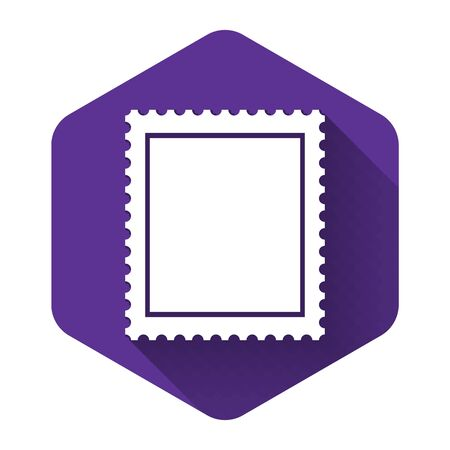 White Postal stamp icon isolated with long shadow. Purple hexagon button. Vector Illustration Ilustracja