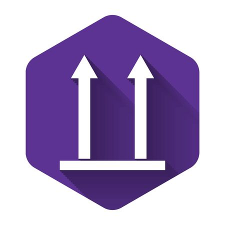 White This side up icon isolated with long shadow. Two arrows indicating top side of packaging. Cargo handled so these arrows always point up. Purple hexagon button. Vector Illustration Çizim
