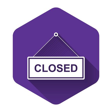 White Hanging sign with text Closed door icon isolated with long shadow. Purple hexagon button. Vector Illustration Ilustracja