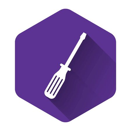 White Screwdriver icon isolated with long shadow. Purple hexagon button. Vector Illustration Reklamní fotografie - 132123391
