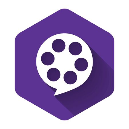 White Film reel icon isolated with long shadow. Purple hexagon button. Vector Illustration Illustration