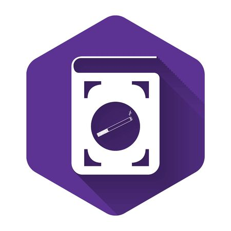 White Book with cigarette icon isolated with long shadow. Purple hexagon button. Vector Illustration Çizim