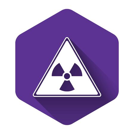 White Triangle sign with radiation symbol icon isolated with long shadow. Purple hexagon button. Vector Illustration