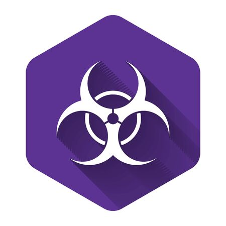 White Biohazard symbol icon isolated with long shadow. Purple hexagon button. Vector Illustration