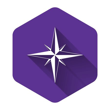 White Wind rose icon isolated with long shadow. Compass icon for travel. Navigation design. Purple hexagon button. Vector Illustration  イラスト・ベクター素材