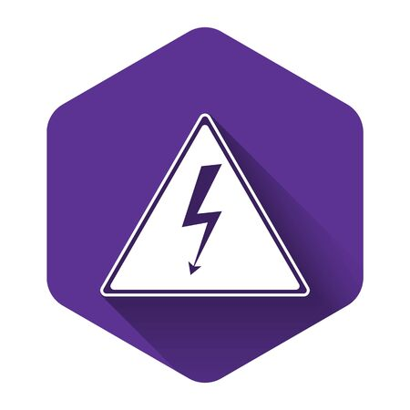 White High voltage sign icon isolated with long shadow. Danger symbol. Arrow in triangle. Warning icon. Purple hexagon button. Vector Illustration