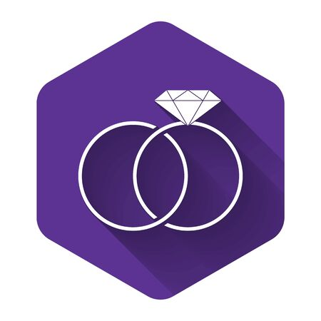 White Wedding rings icon isolated with long shadow. Bride and groom jewelery sign. Marriage icon. Diamond ring icon. Purple hexagon button. Vector Illustration