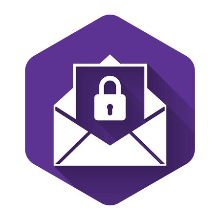White Secure mail icon isolated with long shadow. Mailing envelope locked with padlock. Purple hexagon button. Vector Illustration