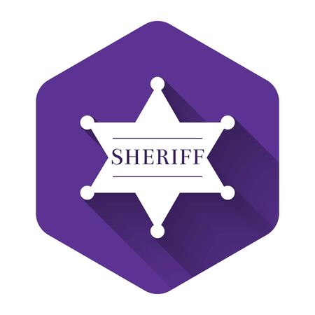 White Hexagonal sheriff star icon isolated with long shadow. Sheriff badge symbol. Purple hexagon button. Vector Illustration