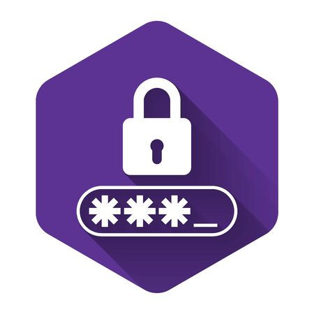 White Password protection and safety access icon isolated with long shadow. Lock icon. Security, safety, protection, privacy concept. Purple hexagon button. Vector Illustration