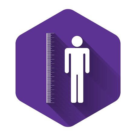 White Measuring height body icon isolated with long shadow. Purple hexagon button. Vector Illustration Ilustracja
