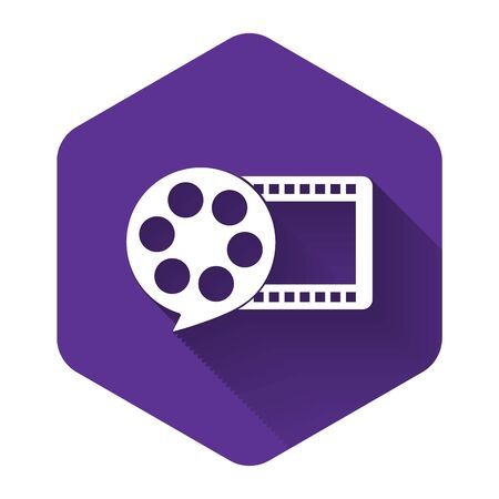 White Film reel and play video movie film icon isolated with long shadow. Purple hexagon button. Vector Illustration