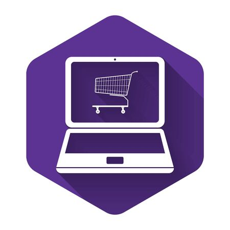 White Online shopping concept. Shopping cart on screen laptop icon isolated with long shadow. Concept e-commerce, online business marketing. Purple hexagon button. Vector Illustration