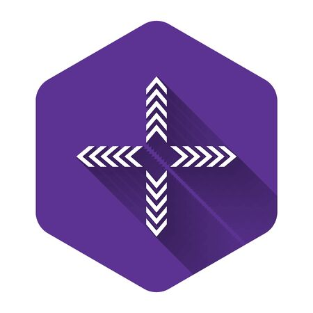 White Arrows in four directions icon isolated with long shadow. Purple hexagon button. Vector Illustration