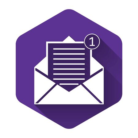 White Received message concept. Envelope icon isolated with long shadow. New, email incoming message, sms. Mail delivery service. Purple hexagon button. Vector Illustration