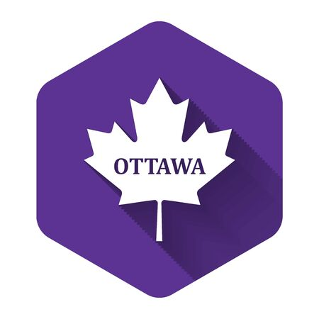 White Canadian maple leaf with city name Ottawa icon isolated with long shadow. Purple hexagon button. Vector Illustration Imagens - 132124506