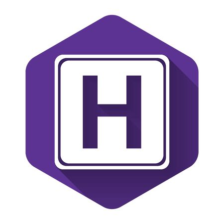 White Hospital sign icon isolated with long shadow. Purple hexagon button. Vector Illustration 版權商用圖片 - 132125371