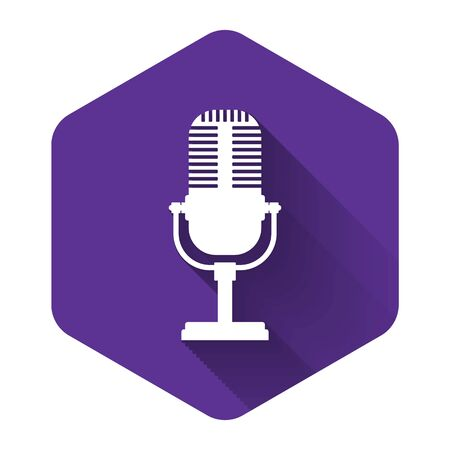 White Microphone icon isolated with long shadow. On air radio mic microphone. Speaker sign. Purple hexagon button. Vector Illustration