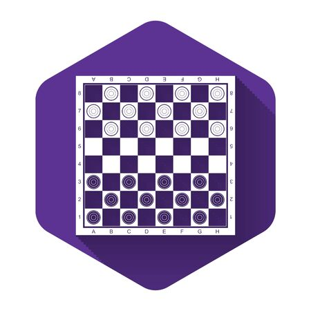 White Board game of checkers icon isolated with long shadow. Ancient Intellectual board game. Chess board. White and black chips. Purple hexagon button. Vector Illustration