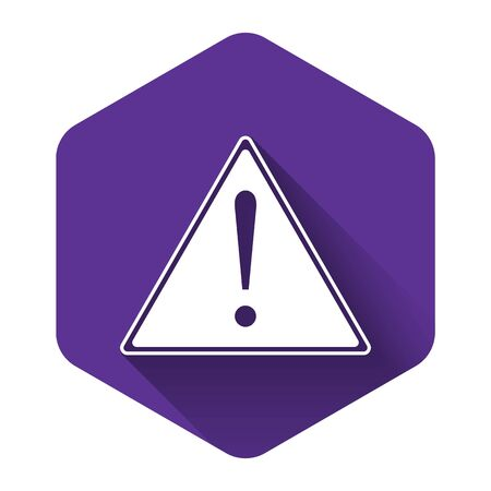 White Exclamation mark in triangle icon isolated with long shadow. Hazard warning sign, careful, attention, danger warning important sign. Purple hexagon button. Vector Illustration Foto de archivo - 132125327