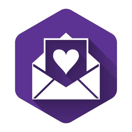 White Envelope with Valentine heart icon isolated with long shadow. Letter love and romance. Purple hexagon button. Vector Illustration