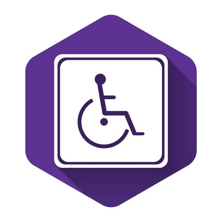 White Disabled handicap icon isolated with long shadow. Wheelchair handicap sign. Purple hexagon button. Vector Illustration 向量圖像