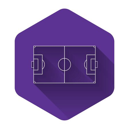 White Football field or soccer field icon isolated with long shadow. Purple hexagon button. Vector Illustration Çizim