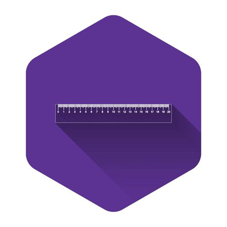 White Ruler icon isolated with long shadow. Straightedge symbol. Purple hexagon button. Vector Illustration Ilustracja