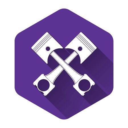 White Two crossed engine pistons icon isolated with long shadow. Purple hexagon button. Vector Illustration