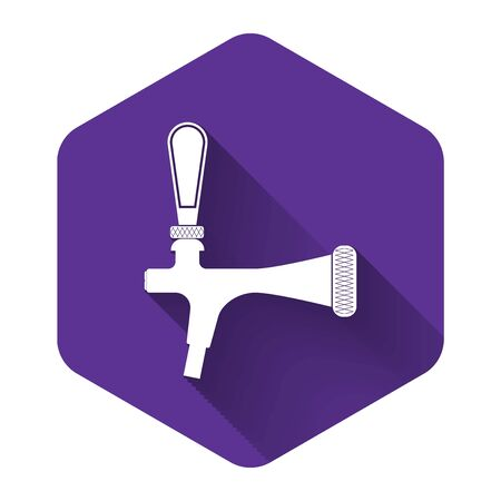 White Beer tap icon isolated with long shadow. Purple hexagon button. Vector Illustration