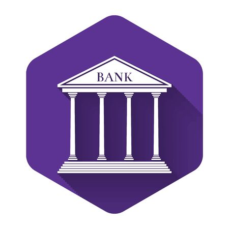 White Bank building icon isolated with long shadow. Purple hexagon button. Vector Illustration