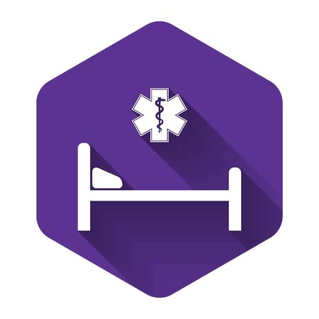 White Hospital Bed with Medical symbol of the Emergency - Star of Life icon isolated with long shadow. Flat design. Purple hexagon button. Vector Illustration