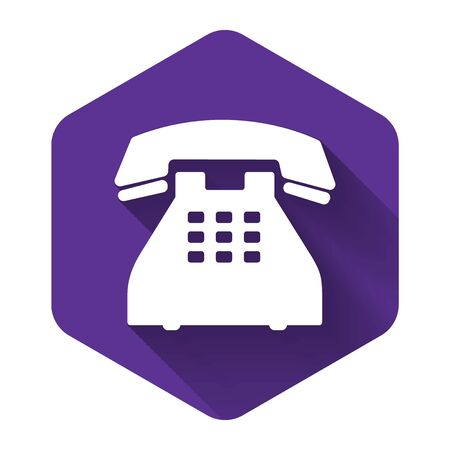 White Telephone icon isolated with long shadow. Landline phone. Purple hexagon button. Vector Illustration