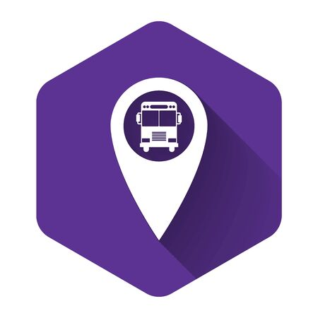 White Map pointer with bus icon isolated with long shadow. Purple hexagon button. Vector Illustration