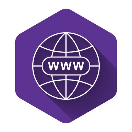 White Go To Web icon isolated with long shadow. Www icon. Website pictogram. World wide web symbol. Internet symbol for your web site design, app, UI. Purple hexagon button. Vector Illustration Banco de Imagens - 132125570