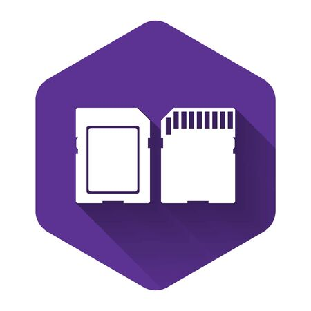 White SD card icon isolated with long shadow. Memory card. Adapter icon. Purple hexagon button. Vector Illustration